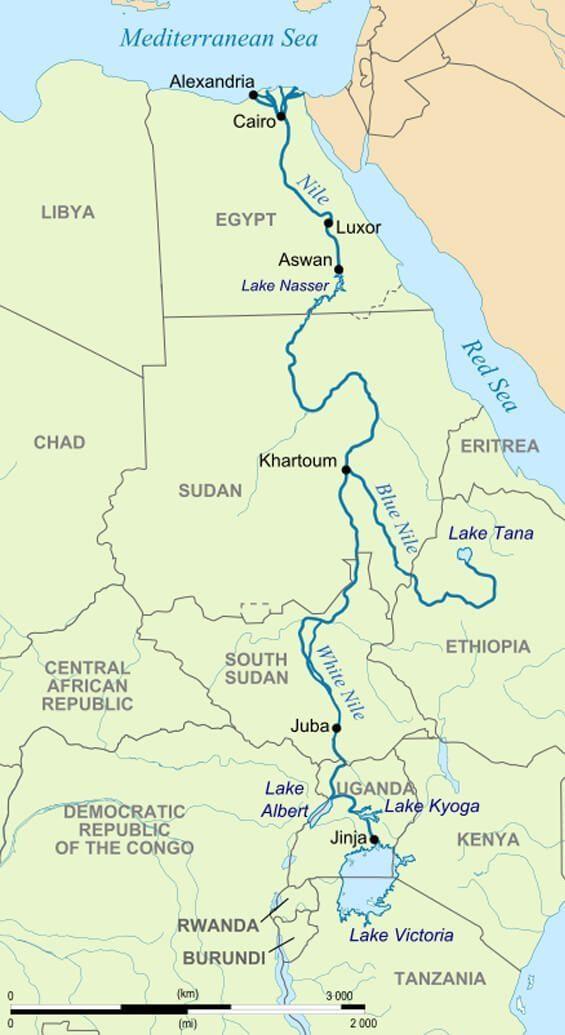 Negara-negara Afrika yang dilalui sungai Nil