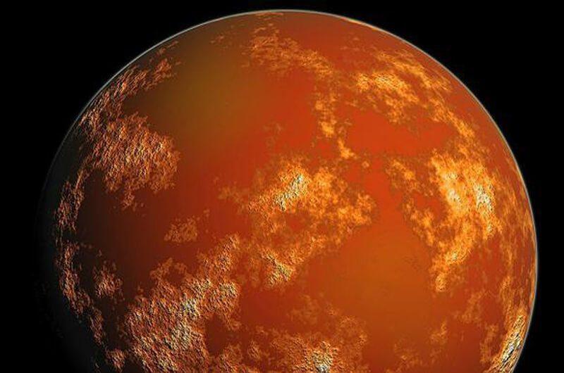 Bumi bersinar merah