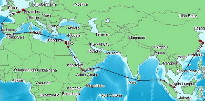 Peta Singapura sebagai jalur perdagangan Eropa dan Asia