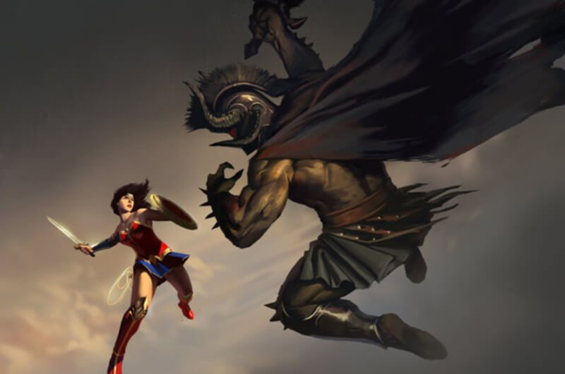 Wonder Woman Bertarung dengan Dewa Aress