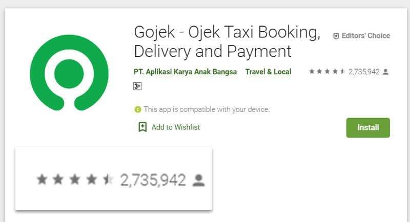 Aplikasi Gojek diunduh lebih dari 1 juta pengguna di play store