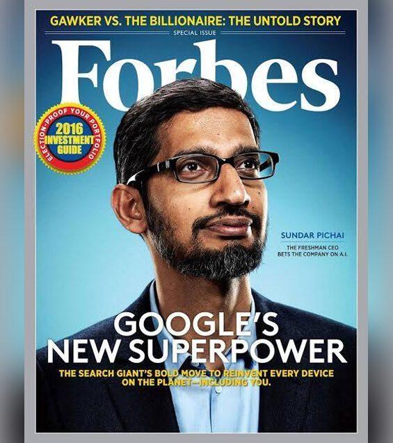 Sundar Pichai dimuat di majalah Forbes