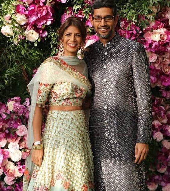 Sundar Pichai dan istri, Anjali Pichai