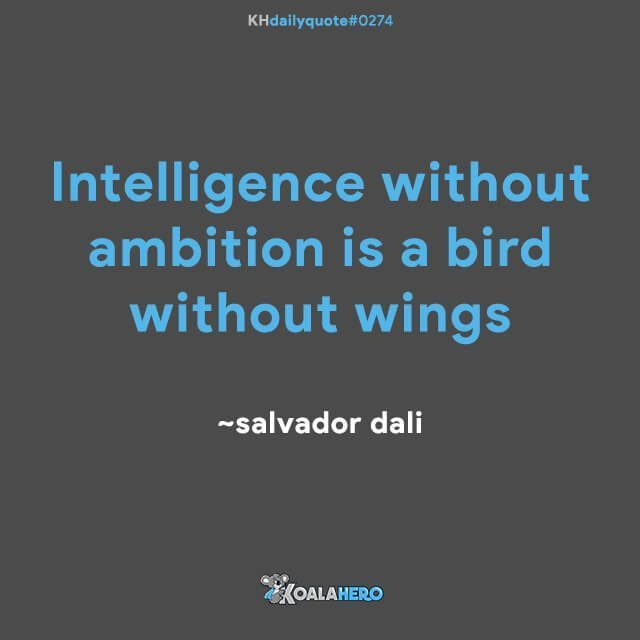 Intelligence without ambition is a bird without wings ~salvador dali