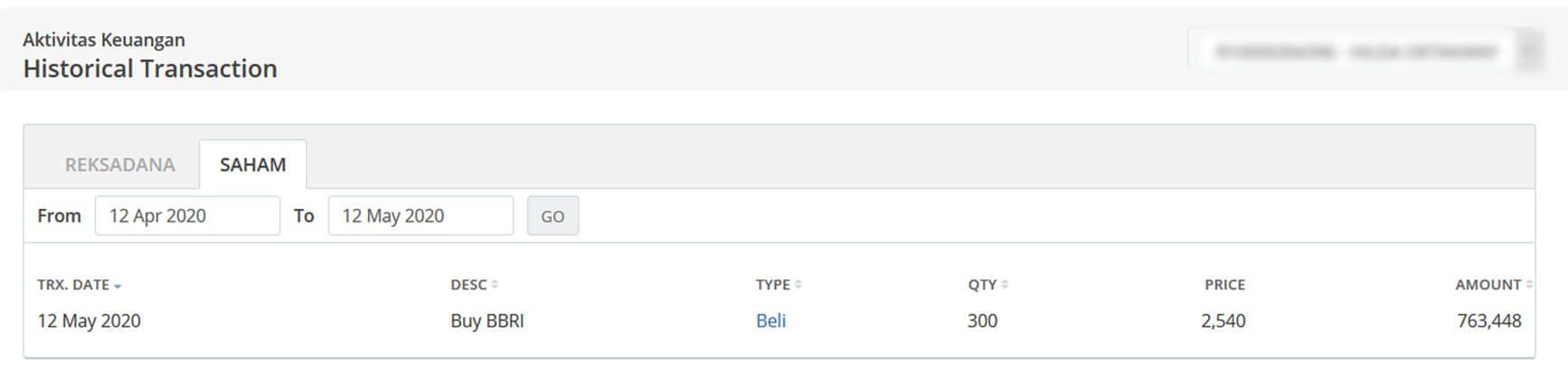 Screenshot Perkembangan Investasi Saham - Day 96, Selasa, 12 Mei 2020 Pembelian Saham