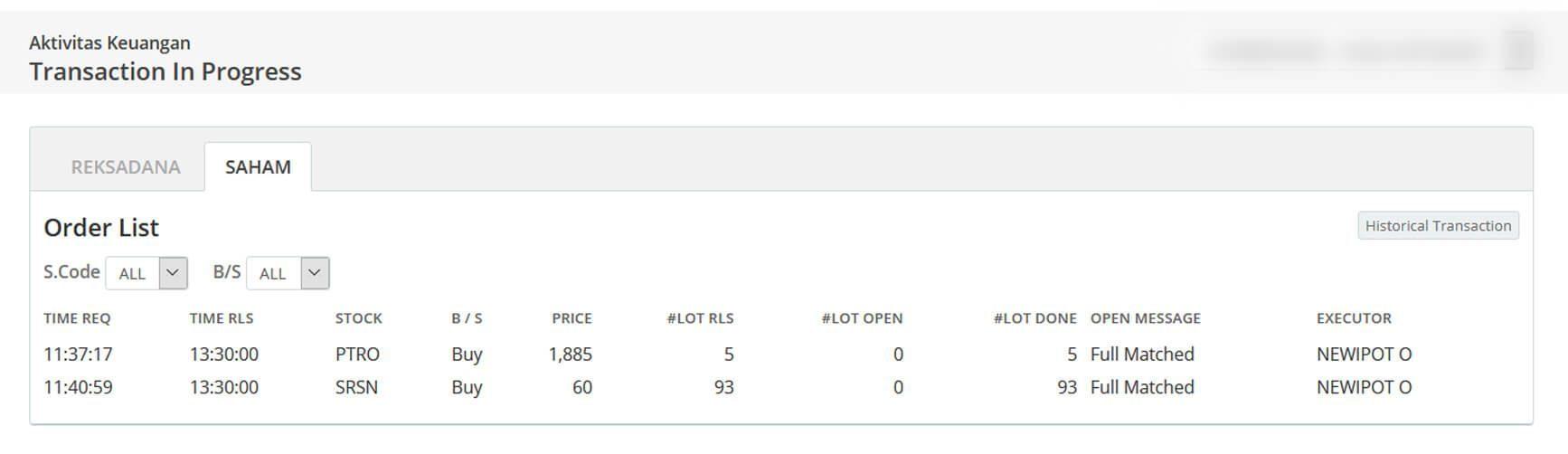 Screenshot Perkembangan Investasi Saham - Day 145, Kamis, 23 Juli 2020 Pembelian Saham