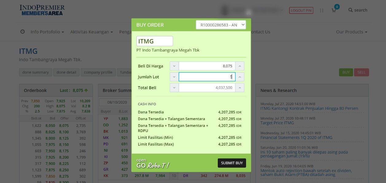 Bukti Pembelian ITMG 5 Lot