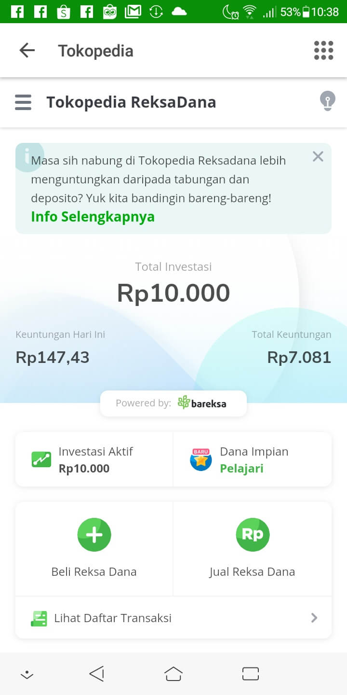 Investasi Reksadana di Tokopedia - Day 401 - 10 August 2020